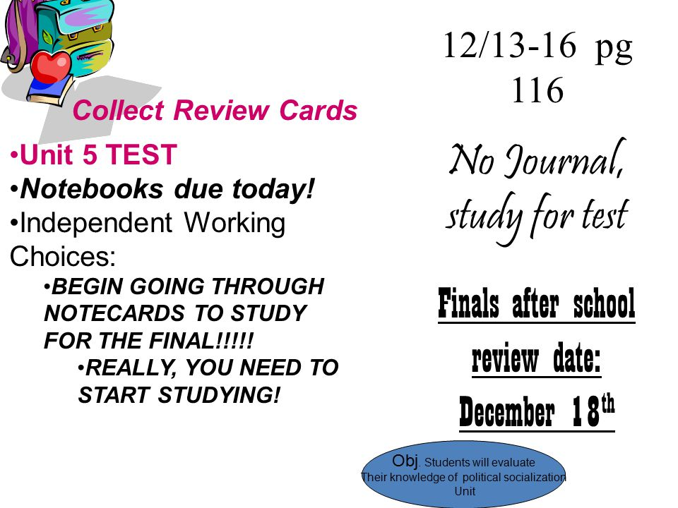 No Journal, study for test