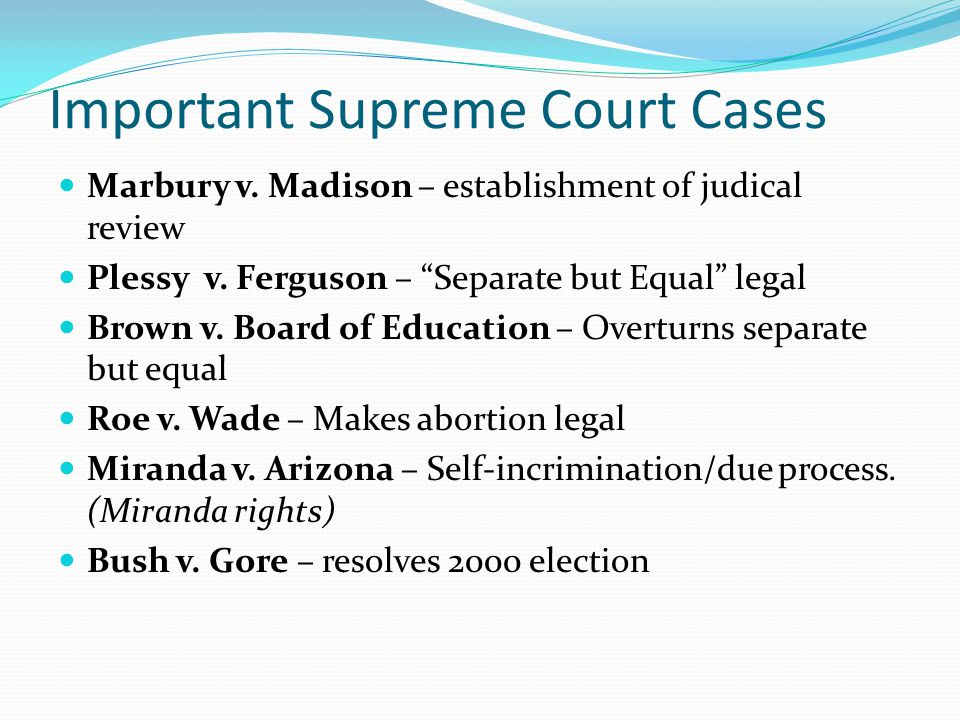 Important Supreme Court Cases