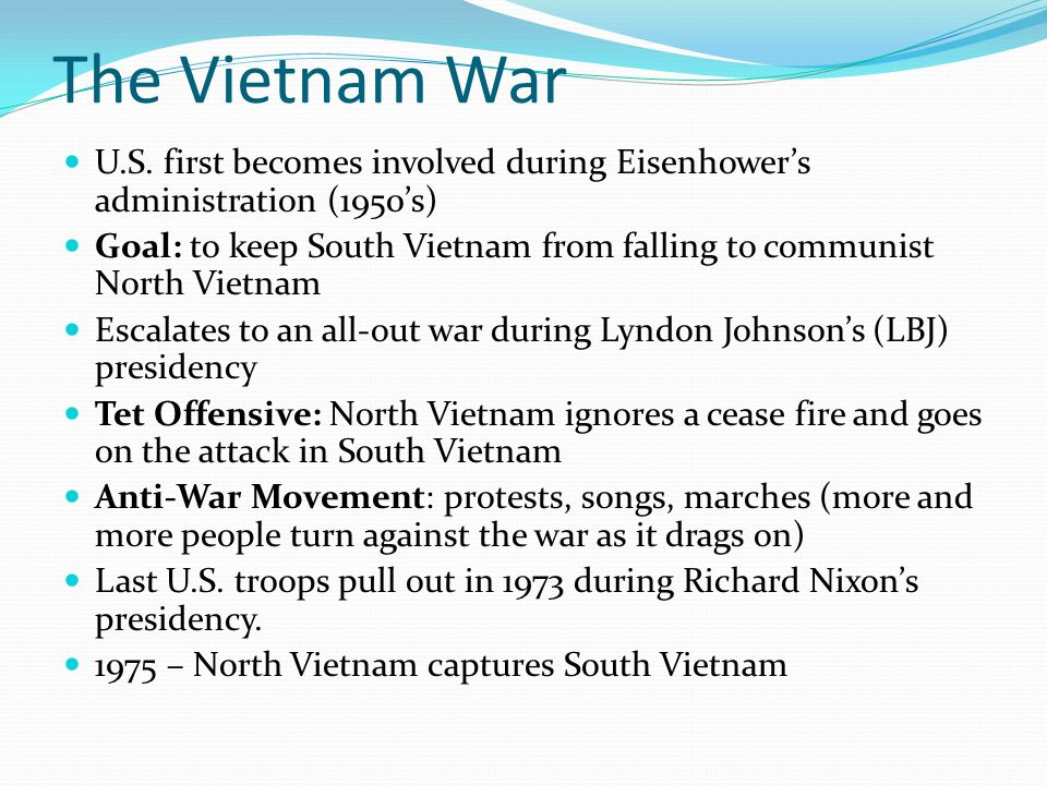 The Vietnam War U.S. first becomes involved during Eisenhower's administration (1950's)