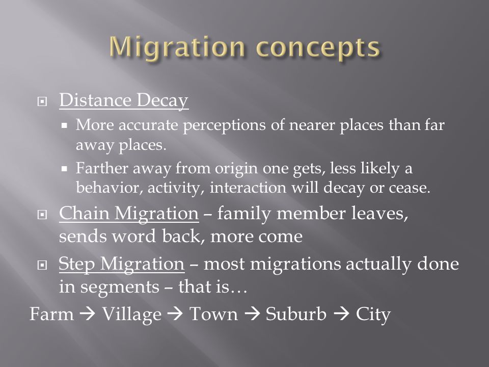 Migration concepts Distance Decay