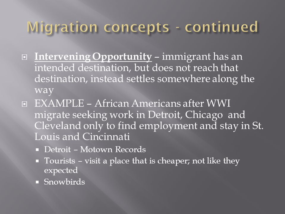 Migration concepts - continued