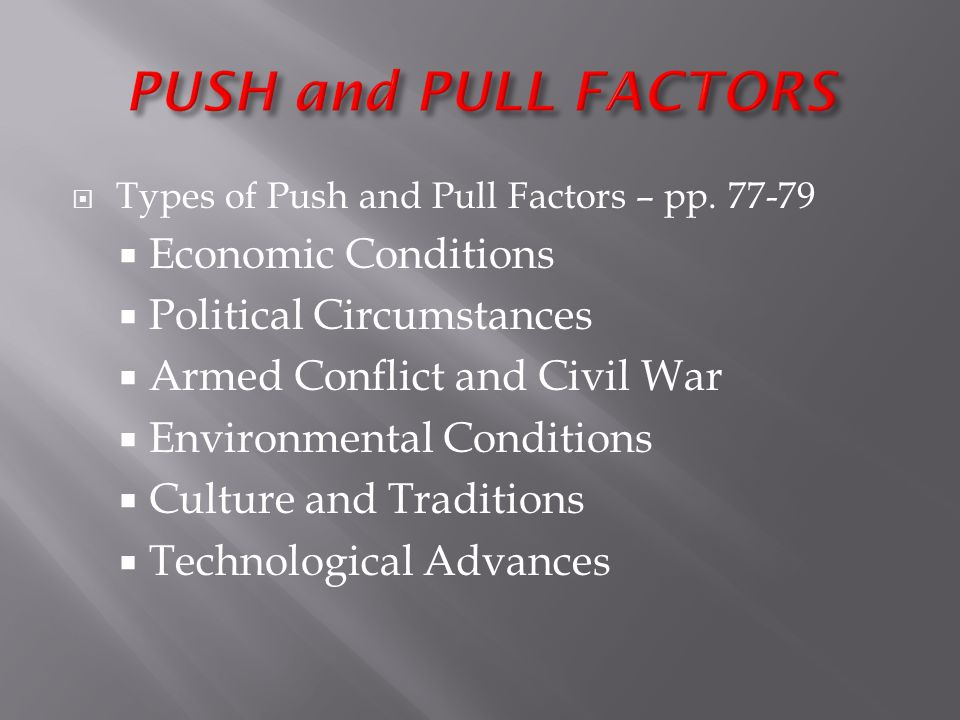 PUSH and PULL FACTORS Economic Conditions Political Circumstances