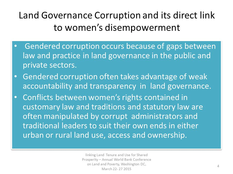 Land Governance Corruption and its direct link to women's disempowerment