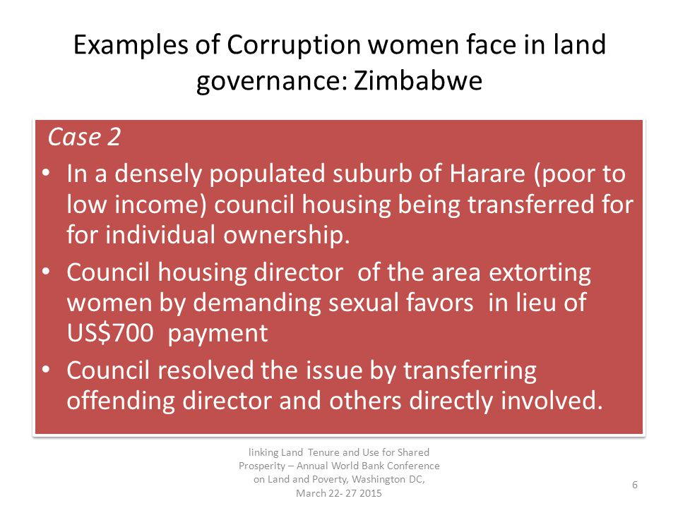 Examples of Corruption women face in land governance: Zimbabwe