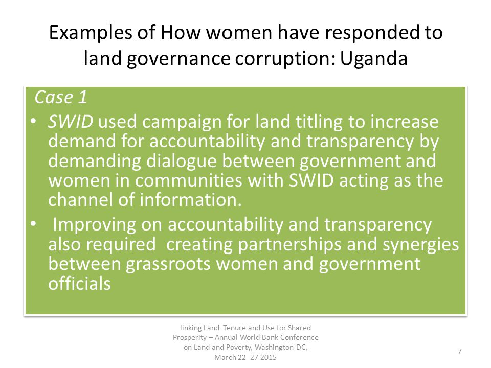 Examples of How women have responded to land governance corruption: Uganda