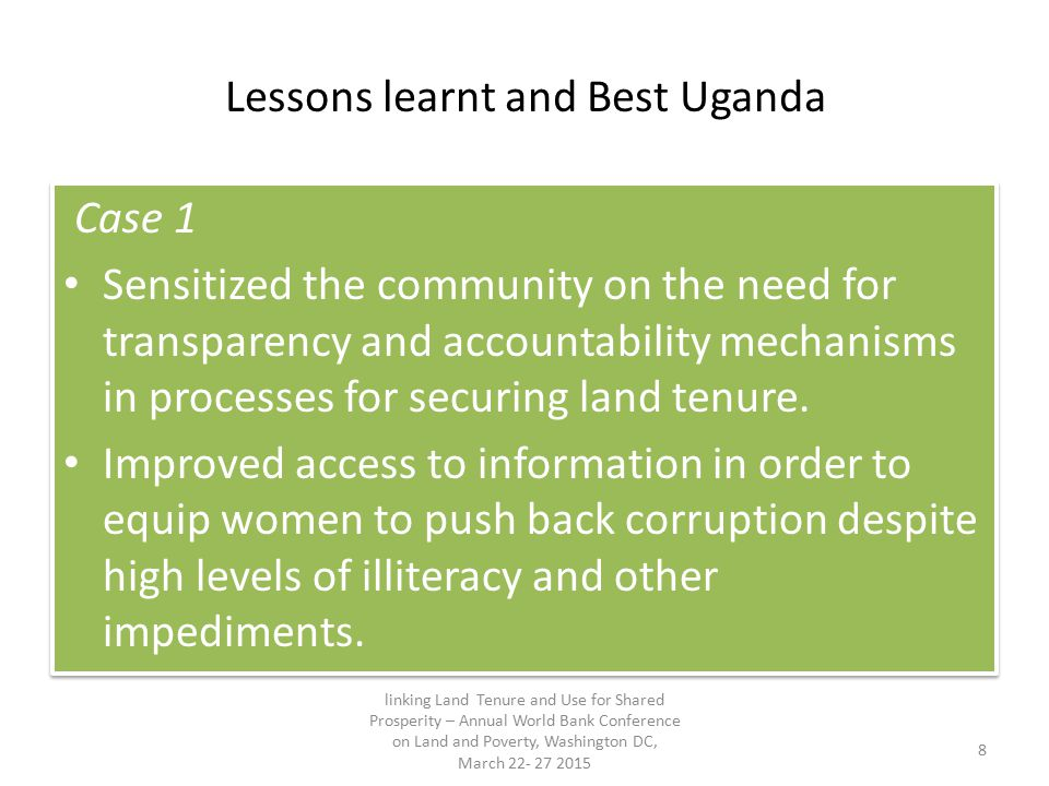 Lessons learnt and Best Uganda