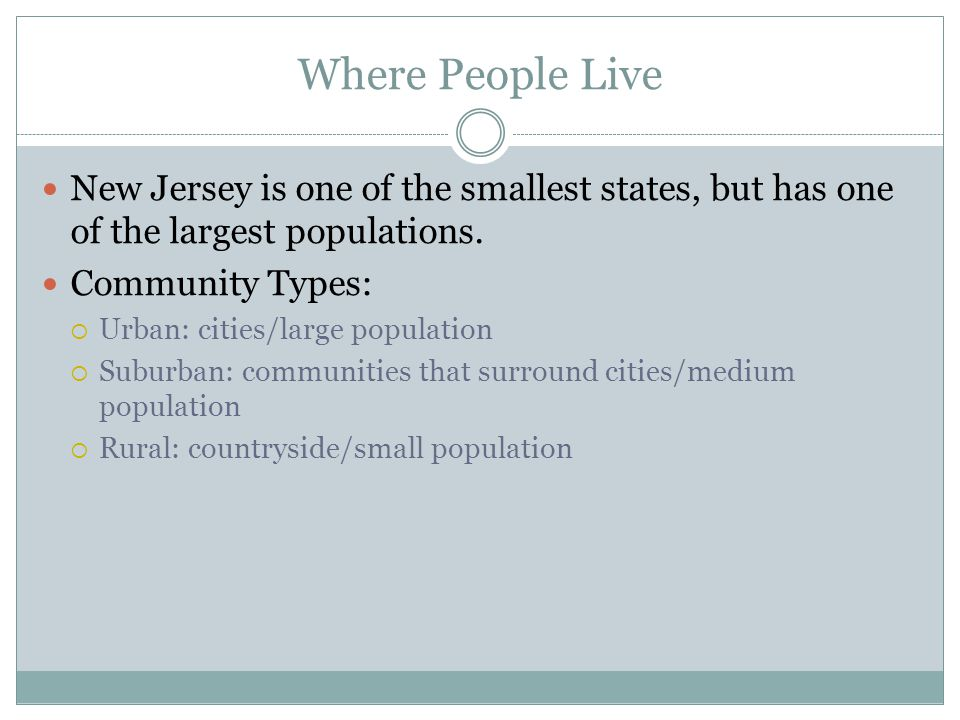 Where People Live New Jersey is one of the smallest states, but has one of the largest populations.