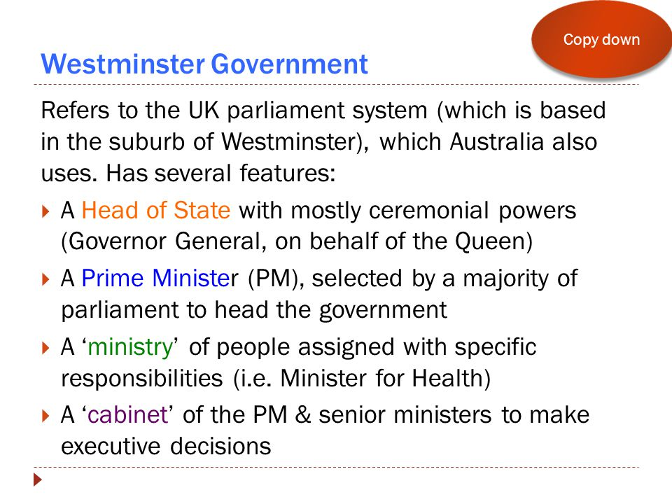 Westminster Government