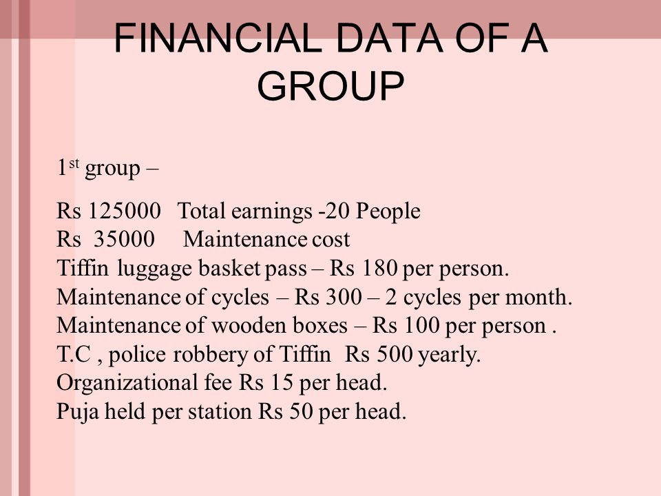 FINANCIAL DATA OF A GROUP