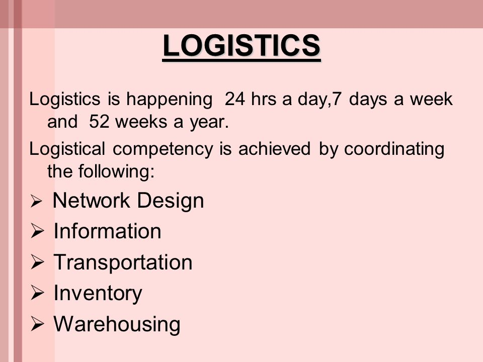 LOGISTICS Information Transportation Inventory Warehousing