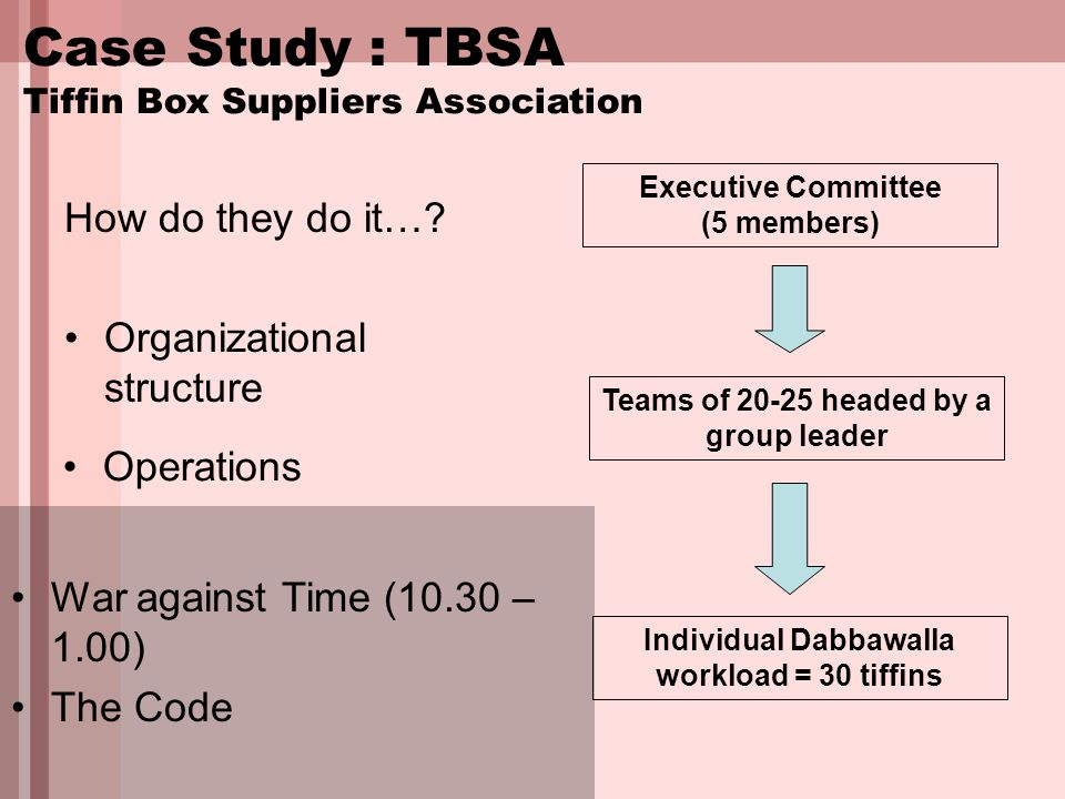 Case Study : TBSA Tiffin Box Suppliers Association