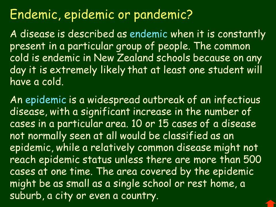 Endemic, epidemic or pandemic