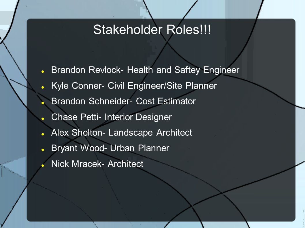 Stakeholder Roles!!! Brandon Revlock- Health and Saftey Engineer