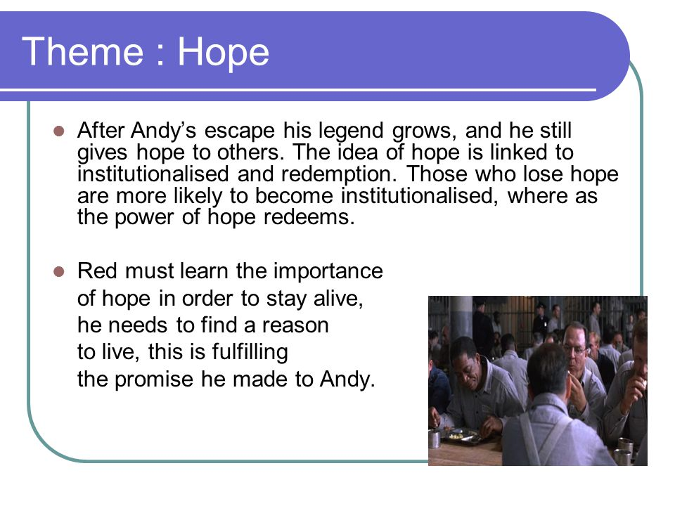 shawshank redemption theme hope essays Introduction to shawshank redemption a place which strips men of their freedom and hope introduction to shawshank redemption essay sample.