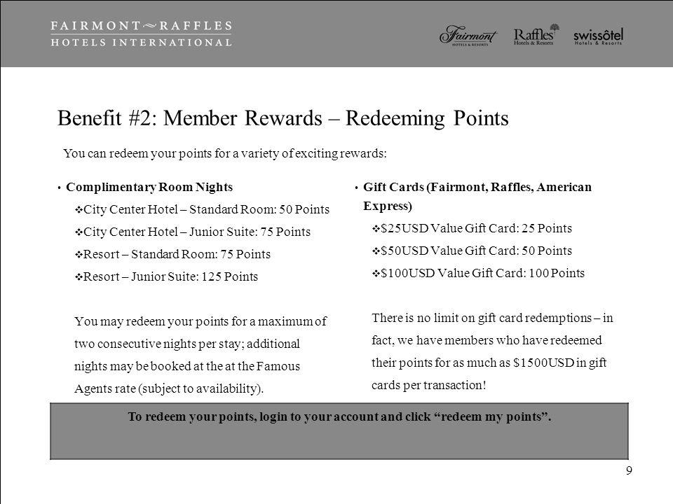 Benefit #2: Member Rewards – Redeeming Points