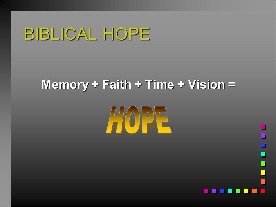 Memory + Faith + Time + Vision =