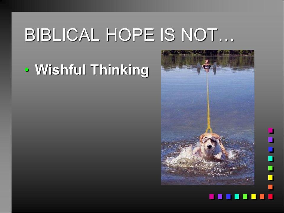BIBLICAL HOPE IS NOT… Wishful Thinking