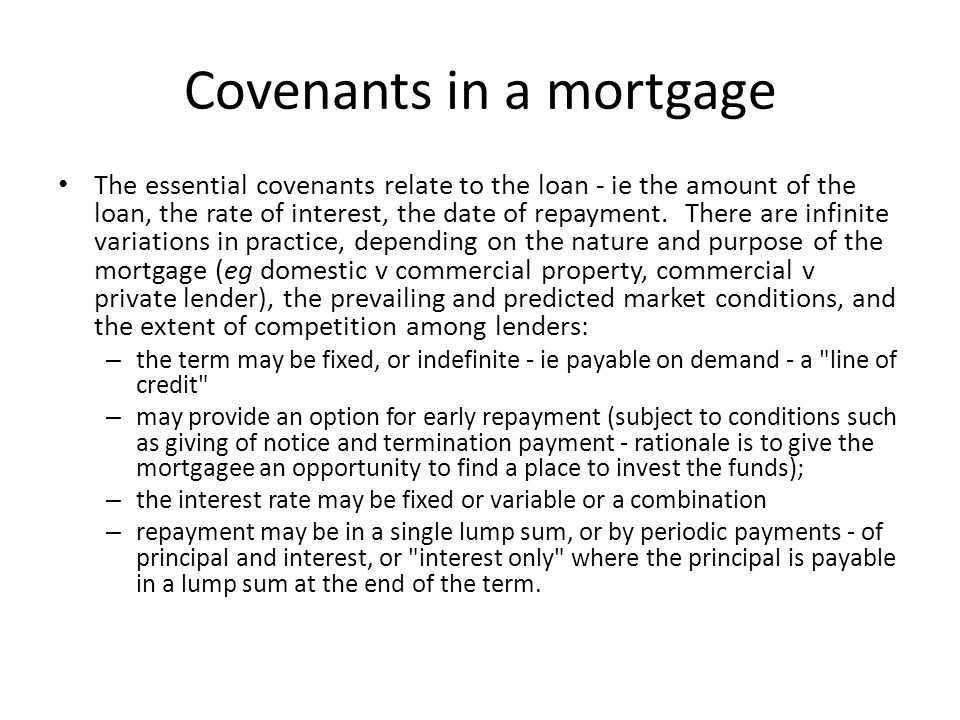 Covenants in a mortgage