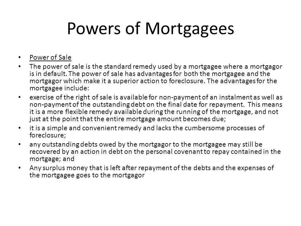 Powers of Mortgagees Power of Sale