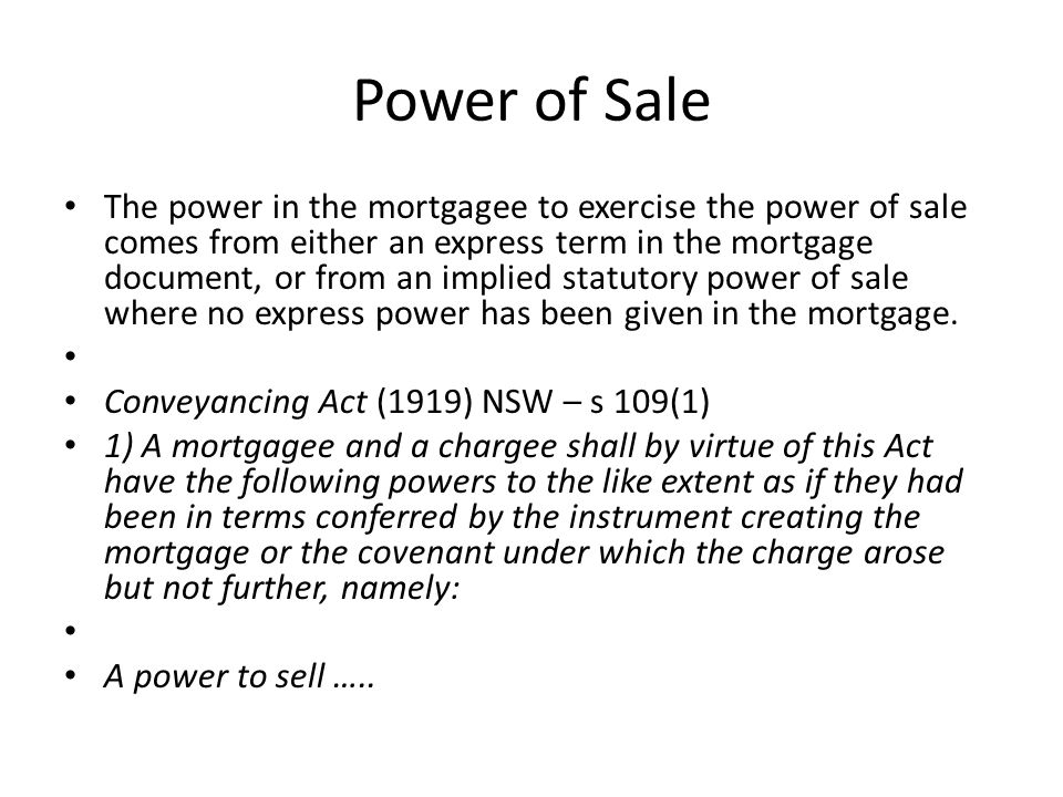 Power of Sale