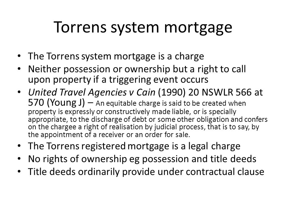 Torrens system mortgage