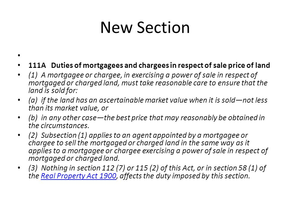 New Section 111A Duties of mortgagees and chargees in respect of sale price of land.