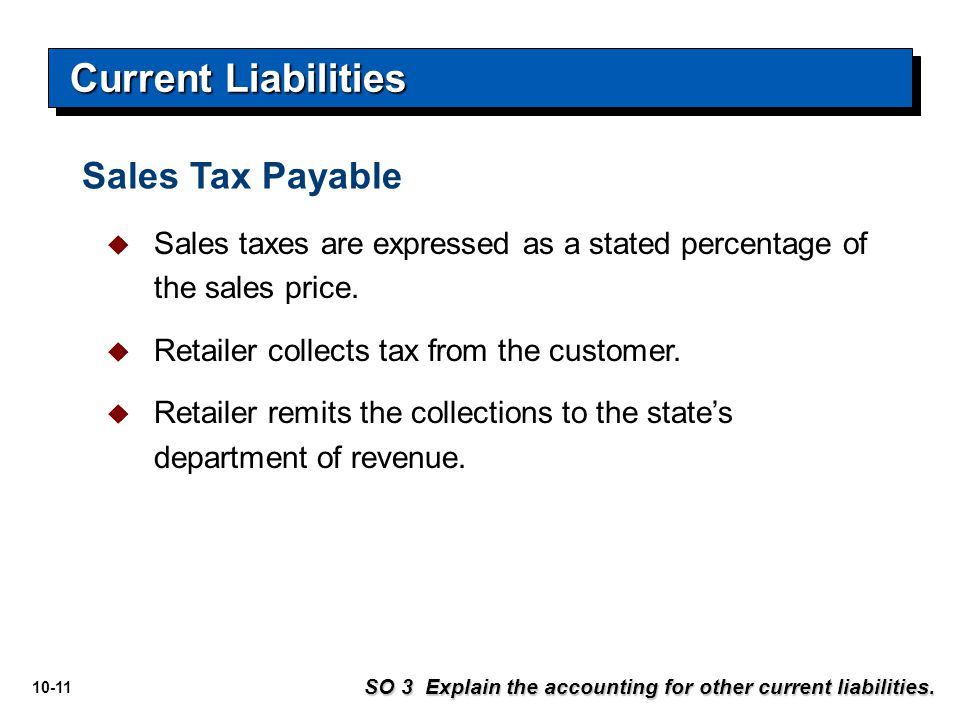 Current Liabilities Sales Tax Payable