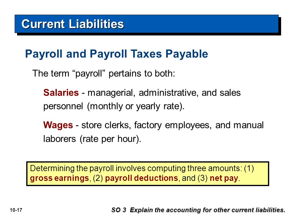 Current Liabilities Payroll and Payroll Taxes Payable