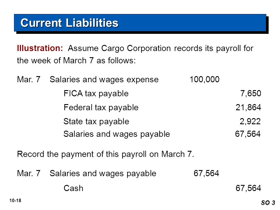 Current Liabilities Illustration: Assume Cargo Corporation records its payroll for the week of March 7 as follows: