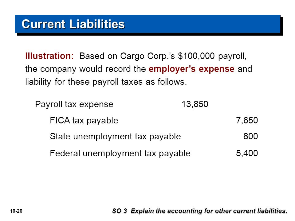 Current Liabilities Illustration: Based on Cargo Corp.'s $100,000 payroll,