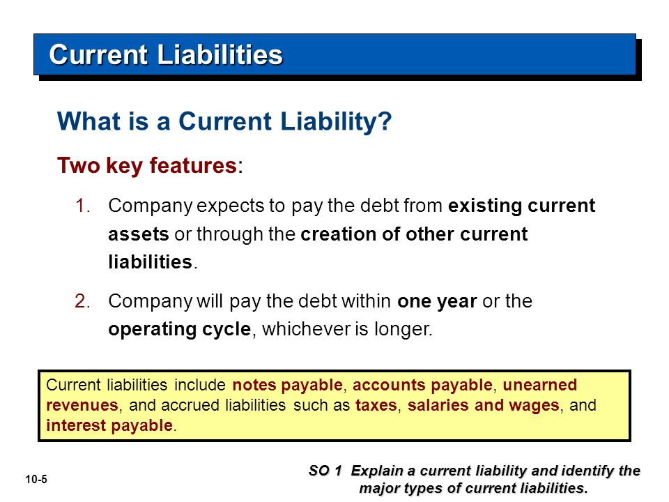 Current Liabilities What is a Current Liability Two key features: