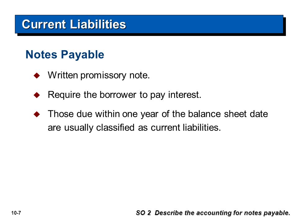 Current Liabilities Notes Payable Written promissory note.