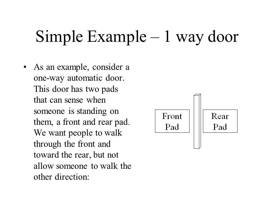 Simple Example – 1 way door