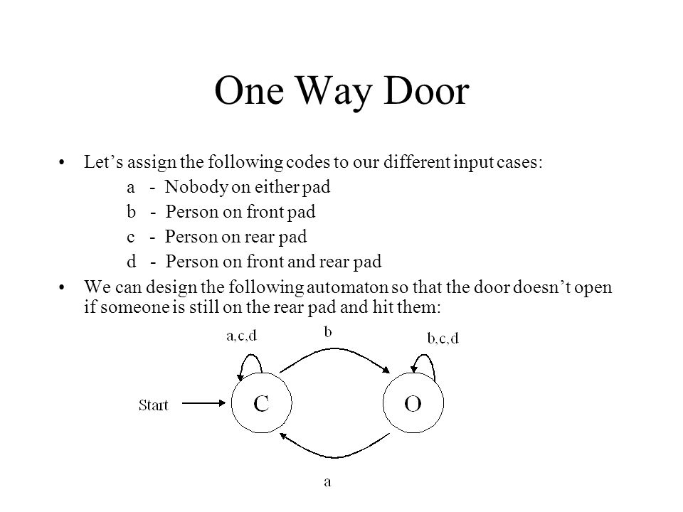 One Way Door Let's assign the following codes to our different input cases: a - Nobody on either pad.
