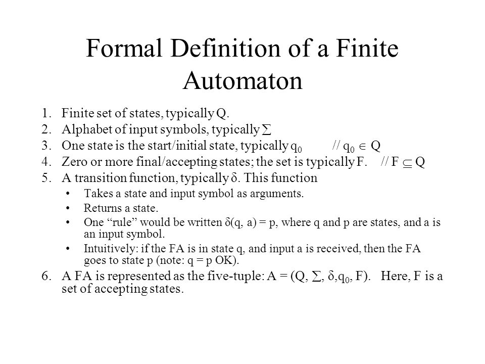 Formal Definition of a Finite Automaton