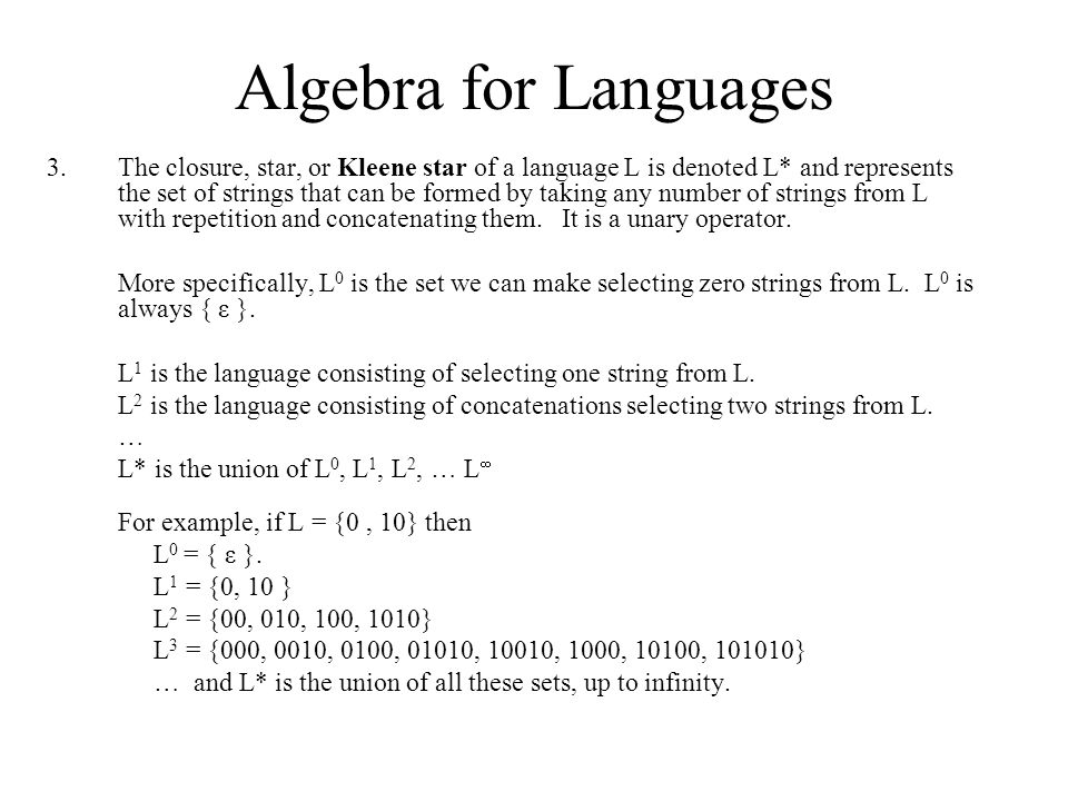 Algebra for Languages