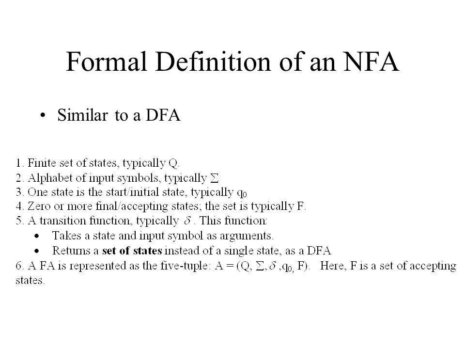 Formal Definition of an NFA