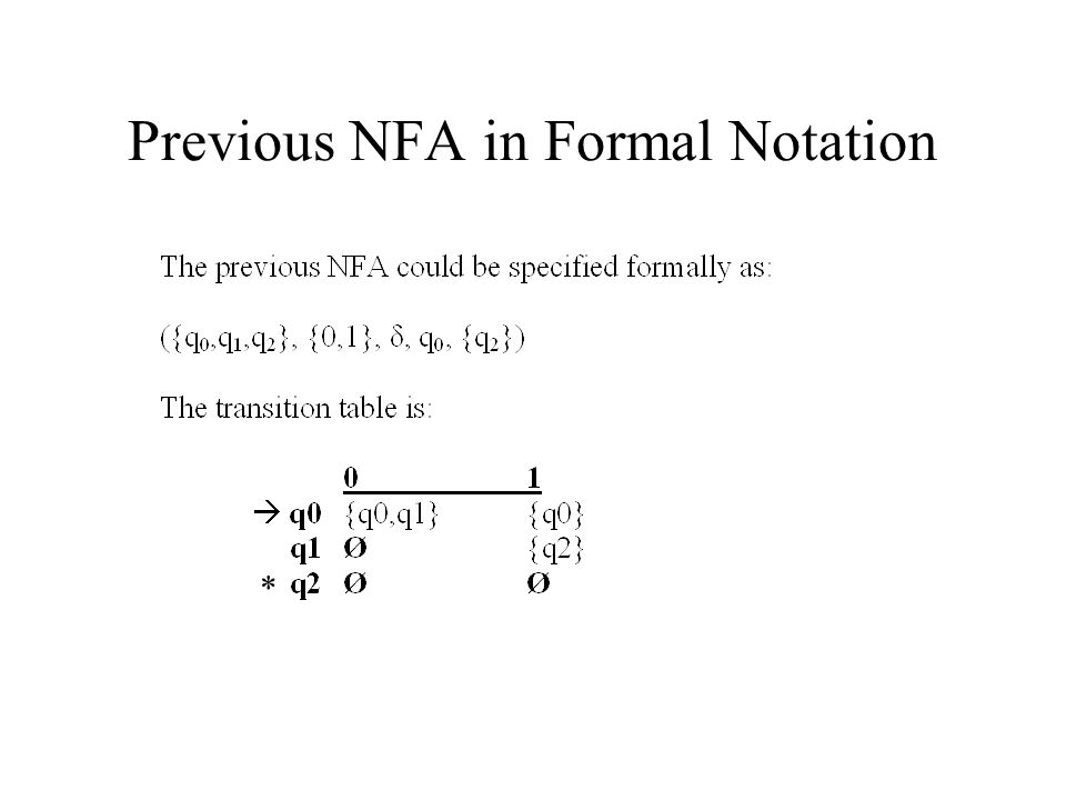 Previous NFA in Formal Notation
