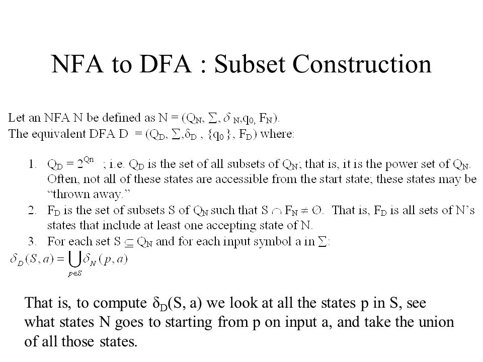 NFA to DFA : Subset Construction