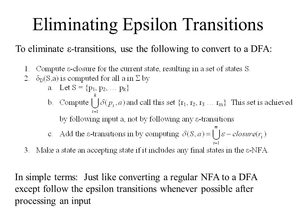 Eliminating Epsilon Transitions