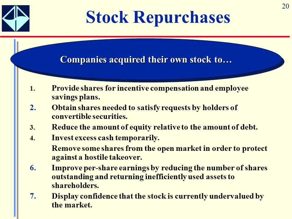 Companies acquired their own stock to…