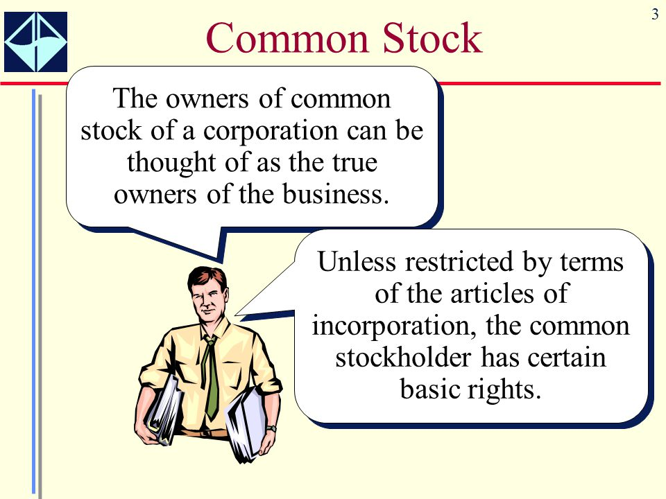 Common Stock The owners of common stock of a corporation can be thought of as the true owners of the business.