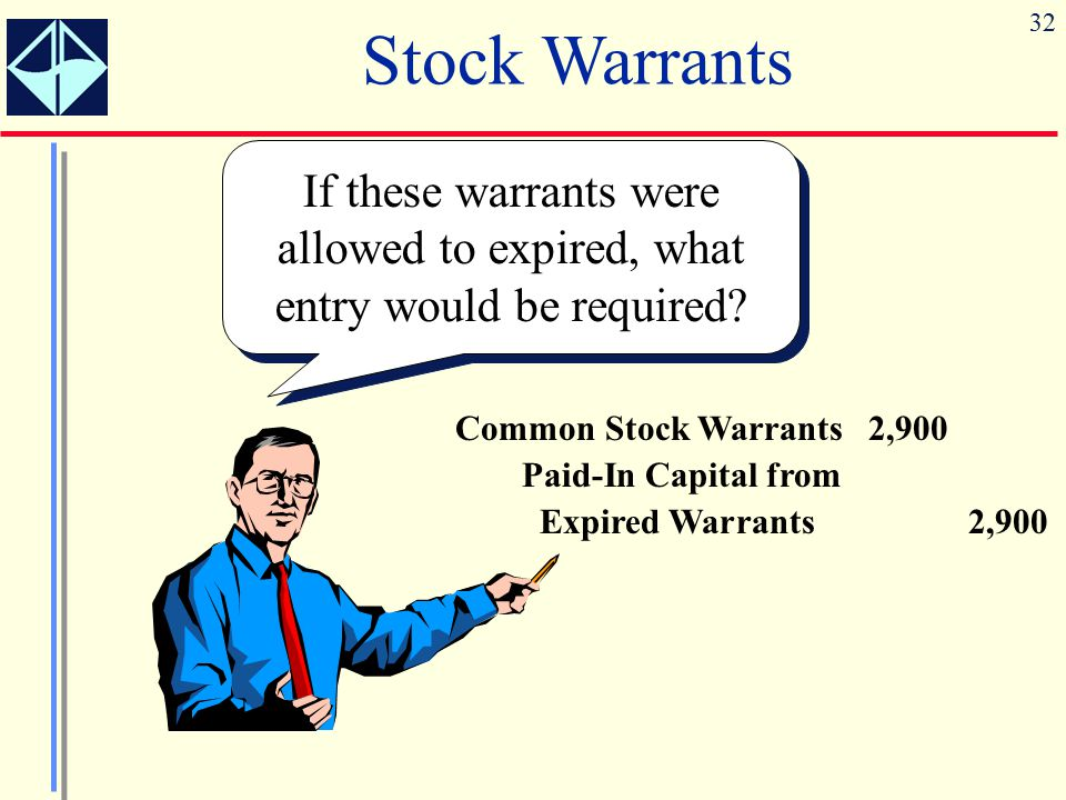 Stock Warrants If these warrants were allowed to expired, what entry would be required Common Stock Warrants 2,900.