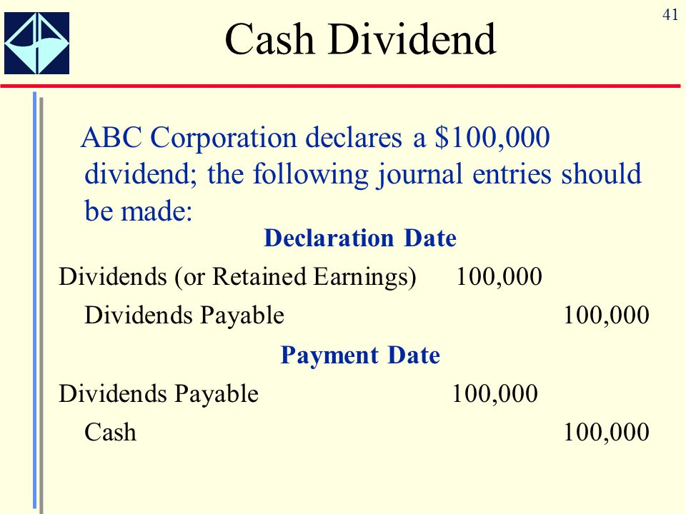 Cash Dividend ABC Corporation declares a $100,000 dividend; the following journal entries should be made: