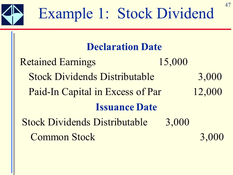 Example 1: Stock Dividend
