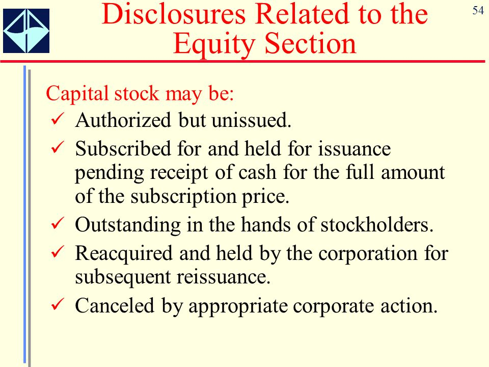 Disclosures Related to the Equity Section