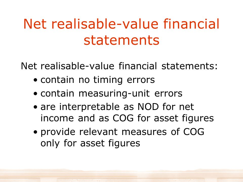 Net realisable-value financial statements