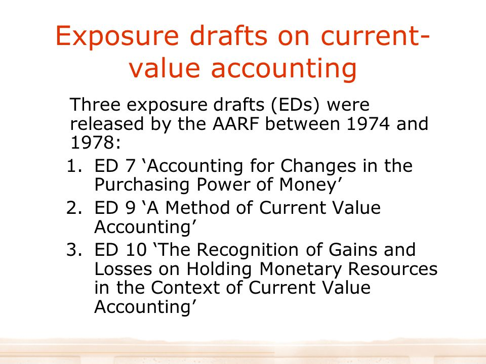 Exposure drafts on current-value accounting