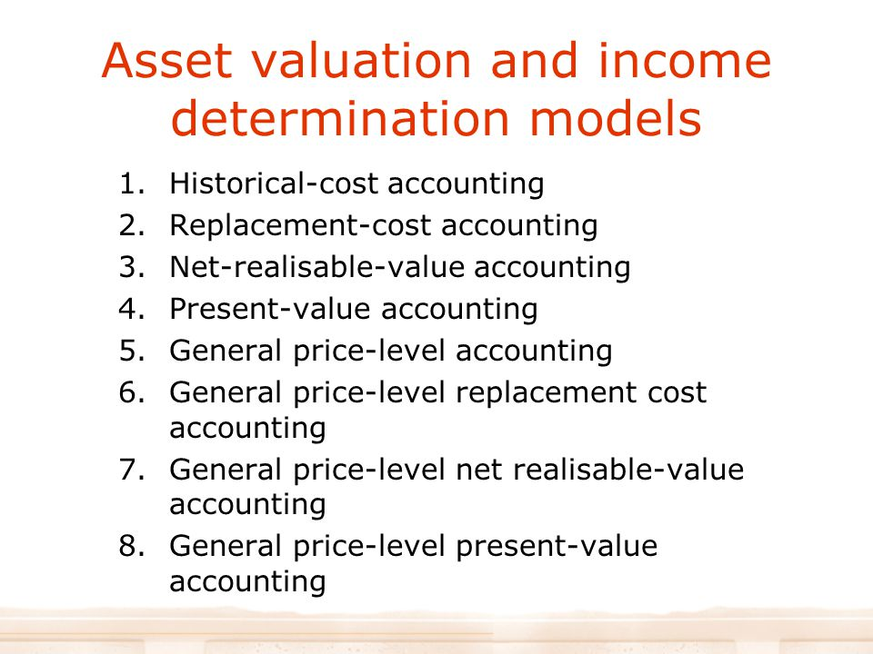 Asset valuation and income determination models