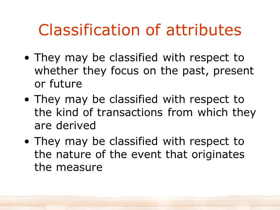 Classification of attributes